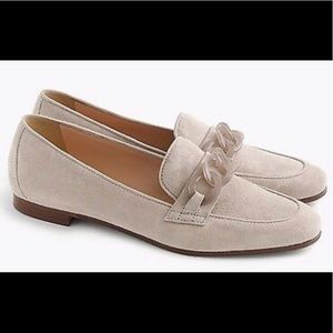 J Crew suede Charlie loafers w/lucite links. NIB 8